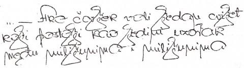Izveštačen, kitnjast rukopis